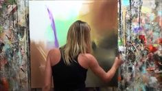 """Démonstration de peinture abstraite (10) Elisabeth - Toile """"Genèse"""""""