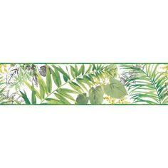 York Wallcoverings Border Portfolio II Canopy x Floral & Botanical Border Wallpaper Color: Green/Blue/Red Old Wallpaper, White Wallpaper, Colorful Wallpaper, Wallpaper Borders, Hydrangea Wallpaper, Botanical Wallpaper, Wallpaper Manufacturers, Prepasted Wallpaper, Organic Art