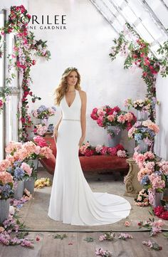Wedding Gown Designer Wedding Dresses and Bridal Gowns by Morilee. This sophisticated Crepe Sheath Wedding Dress Features Gorgeous Crystal Beaded Back Straps Keyhole Back Wedding Dress, Plain Wedding Dress, Bridal Wedding Dresses, Wedding Dress Styles, Dream Wedding Dresses, Designer Wedding Dresses, Wedding Dress Sheath, Crepe Wedding Dress, Backless Wedding