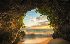 Jaskinia, Morze, Fale, Plaża, Islandia