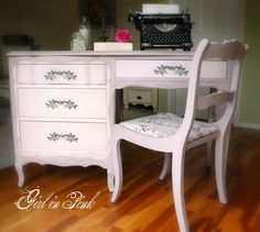 French Provencial Desk in Chalk Paint® Decorative Paint by Annie Sloan, Paloma with 50/50 mix of Paloma and Old White on the Details.  Annie Sloan's Normandie Toile fabric on the chair, by Girl in Pink