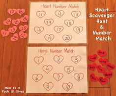 Lots of Valentine/Heart Themed Math games & ideas (Pre-K & K) - Musical Hearts, Broken Heart Addition, Heart Scavenger Hunt & Number Match, Number Stories & more