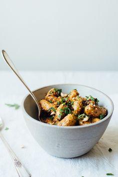 roasted fingerling potato salad w/ romesco and black quinoa - must omit garlic and hazelnuts