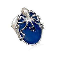 Fashion Octopus Ring with Genuine Blue Agate Stone Wildfire Fashion, http://www.amazon.com/dp/B0051IL2TO/ref=cm_sw_r_pi_dp_QIZ3qb131357Y