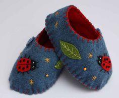 Blue felt baby shoes with ladybug appliqué (on Etsy)