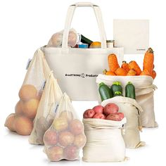 Buy ArmStrong Reusable Produce Bags - Plastic-Free Grocery Bag Bulk Set - Eco-Friendly - Vegetable and Fruit Shopping Storage - Large Mesh Net and Organic Muslin - Food Carrying Sack Merino Wool Shoes, Cotton Shopping Bags, Free Groceries, Eco Friendly Bags, Net Bag, Mesh Netting, Plastic Pollution, Reusable Grocery Bags, Photos