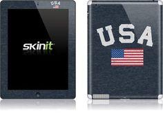 nice Skinit USA with American Flag Vinyl Skin for Apple iPad 2