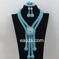 Turquoise Blue 2 layer luxurious African Nigerian Crystal Beads Indian Wedding Party Occasional Beads Bridal Beads Jewellery Set