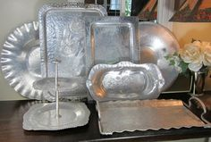 Vintage Hammered Aluminum - collecting and cleaning  #vintagealuminum #aluminumtrays #aluminum