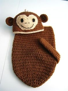 Crochet Patterns Cocoon Little Monkey Newborn Baby Cocoon and Hat Set Crochet with Monkey … … Crochet Baby Props, Crochet Photo Props, Newborn Crochet, Crochet Baby Cocoon, Baby Blanket Crochet, Loom Knitting, Baby Knitting, Crochet Crafts, Crochet Projects