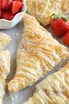 These quick and easy turnovers are made with puff pastry and stuffed with strawberries and cream cheese. These Strawberry Cream Cheese Turnovers make a perfect breakfast or dessert! Strawberry Cream Cheese Pie, Cream Cheese Desserts, Strawberries And Cream, Cream Cheese Puff Pastry, Cream Cheese Danish, Phyllo Dough Recipes, Puff Pastry Recipes, Puff Pastries, Breakfast Pastries
