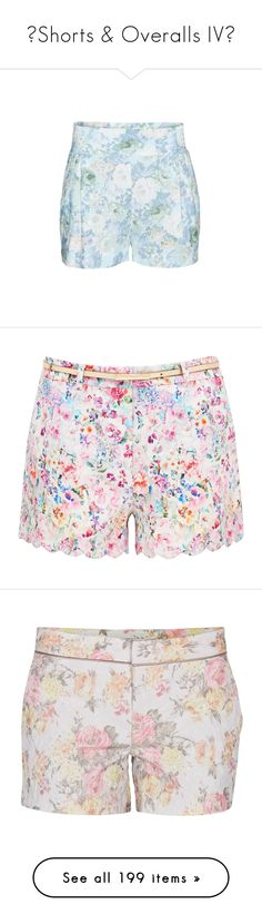 """❉Shorts & Overalls IV❉"" by cat-on-wheels ❤ liked on Polyvore featuring shorts, aritzia, floral print shorts, golf skirts, floral skort, floral shorts, pull on shorts, short, hamptons print and print shorts"