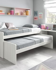 Un espacio pequeño no tiene por qué ser un impedimento para conseguir tener un Bedroom Bed Design, Girl Bedroom Designs, Small Room Bedroom, Room Decor Bedroom, Girls Bedroom, Bedroom Ideas, Small Room Design, Kids Room Design, Bunk Bed Designs