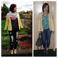 #Worn2Ways: I love a good blazer and Jean combo! And as you can see I am getting multiple use of my friend's great- grandmother's blazer! #vintage #yellow #blazer #vintageblazer #vintagelove #BlazerAndDenim #howto #TriciasTips #wardrobemixup #versatile #accessorize #styletips #fashiontips #fashion #trend  #fashionista #instafashion #trustintricia #WardrobeConsultant #FashionStylist #PersonalStylist #potd #lotd