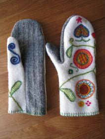 Different type of wool mitten pattern Alter Pullover Diy, Old Sweater Crafts, Sewing Crafts, Sewing Projects, Sweater Mittens, Wool Sweaters, Recycled Sweaters, Mittens Pattern, Wool Applique