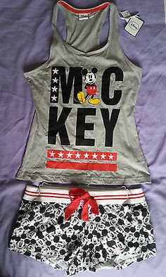 Mickey Mouse Disney Primark Racerback Vest & Shorts PJ's Ladies Size 14/16