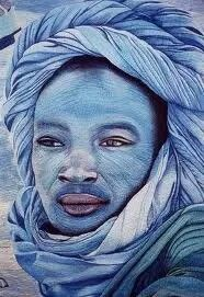 """The blue men are the Tuareg , a nomadic group of people in the Sahara whose traditional territories included Mali and parts of Niger, Morocco, Algeria, etc. They get their nickname from the blue robes they wear. Originally their clothing was deeply dyed with natural indigo. This was absorbed by the skin, which also took on a blue tinge. I have read that even babies were born with blue skin because of the indigo in their mothers' blood. –sthompson"""" International Quilt Festival, Quilt Modernen, Whole Cloth Quilts, American Quilt, Textile Fiber Art, Thread Painting, Contemporary Quilts, Amazing Art, Amazing Things"""