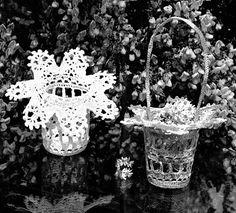 Items similar to PDF Basket Crochet Pattern Wedding Easter Bridesmaid Pot Holder Victorian Kitsch Lace Home Decor Retro Heirloom Keepsake Gift on Etsy Yarn Bombing, Retro Home Decor, Vintage Crafts, Kitsch, Doilies, Boho Decor, Knit Crochet, Crochet Patterns, Easter