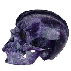 "4.88""Natural Rainbow Fluorite Human Skull realistic carving #18I25"