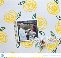 Stamped Backgrounds Using the Free Shape of the Week from Silhouette #Scrapbooking