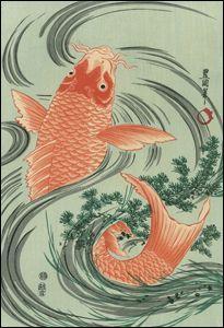 Toyokuni I - Red Carp--YES! The Japanese call them Koi, but I call… Japanese Artwork, Japanese Tattoo Art, Japanese Painting, Japanese Prints, Art Koi, Fish Art, Koi Kunst, Japanese Koi, Japanese Design