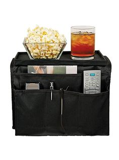 """TV Remote Control Organizer Holder With Clamp Drapes Over Sofa Arms 5-6 Inches Wide ONLY - 6 Pockets for Remotes Books Cell Phones Smartphone -Flat 11"""" x 6"""" Top Tray for Snacks by Perfect Life Ideas"""