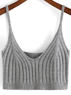 SheIn offers Grey Spaghetti Strap Crop Cami Top & more to fit your fashionable needs. Diy Crop Top, Cami Crop Top, Crop Top Shirts, Cami Tops, Tops Tejidos A Crochet, Knit Crochet, Spaghetti Strap Top, Cropped Cami, Knitwear Fashion