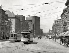 """Detroit circa 1905. """"Woodward Avenue looking north."""" The soap-and-theater district."""