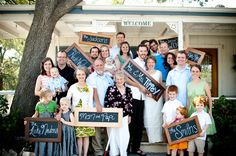 ohgraciepie: Who were you again? Cute wedding photo idea. Chalkboard family names in picture