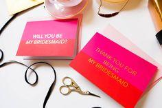 Fuchsia And Gold Foil Will You Be My Bridesmaid Card. #fashionblogger #bridetobe