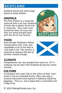 MakingFriends Facts about Scotland Printable Thinking Day fact card for our passports. Perfect if you chose Scotland for your Girl Scout Thinking Day or International Night celebration. Teaching Geography, World Geography, Teaching Kids, Girl Scout Troop, Girl Scouts, English Lessons, Learn English, Facts For Kids, Fun Facts