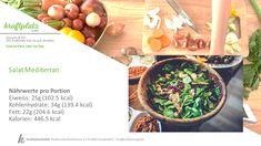 Heute gibt es das Rezept für einen mediterranen Salat, das hilft auch beim Sommerfeeling 😉 Food Portions, Health, Recipies