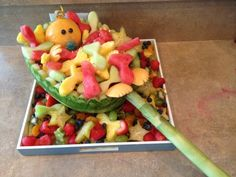fish themed baby shower ideas reel keeper fruit salad baby in net full of