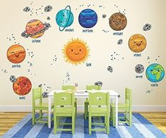 Go Go Dragon - Large Kids Solar System Wall Decals for Nursery - Multi