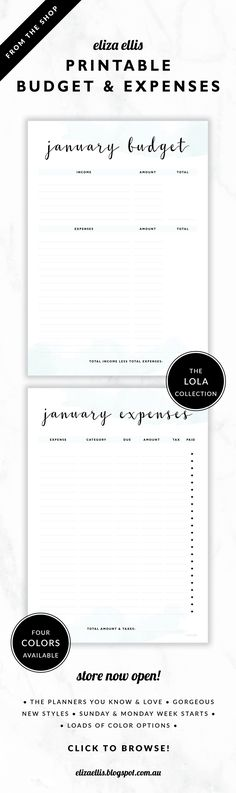 Printable Monthly Budget and Expenses Financial Planners // The Lola Collection by Eliza Ellis. Delicate watercolor design with pretty hand drawn calligraphy font. Available in 4 colors – lilac, viola, snowdrop and peony. Documents print to A4 or A5.