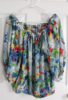 Anthropologie Violet & Claire Women's M Top Floral Colorful Sleeve Blue Blouse #VioletClaire #Blouse #Casual