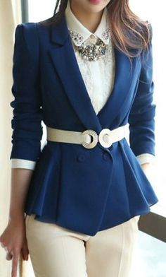 Tailored Collar Long Sleeves Casual Style Solid Color Polyester Women's Blazer