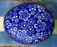 Blue Willow China Painted Rock by KimsFarmhouse on Etsy