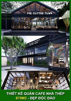 Ứng dụng phong cách Industrial vào thiết kế, The Coffee Town Lê Văn Lương là dự án thứ 2 Phong Cách Mộc hợp tác cùng GM Rooftop Restaurant, Restaurant Design, Design Hotel, Modern Restaurant, Cafe Shop Design, Cafe Interior Design, Coffee Town, Coffee Shop, Pre Engineered Metal Buildings