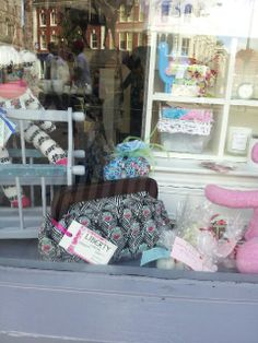 In the window at the shop in the square