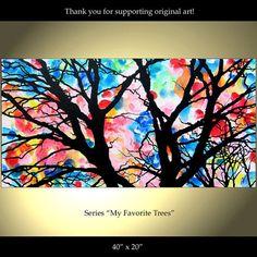 Tree Painting Flowers Original Modern Landscape by ColorinaArt, $169.00