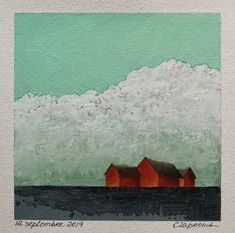 Red barns painting, Landscape painting, House & barn painting, Affordable original art, 6x6 inch acrylic painting, Art within 11x14 mount Red Barn Painting, Painting Art, Small Paintings, Landscape Paintings, Etsy Handmade, Handmade Gifts, Original Artwork, Original Paintings, Small Barns