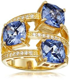 Charles Winston Sterling Silver www.teelieturner.com Tanzanite Color/Cubic Zirconia 3-Row Ring, Size 8 $132.00 #sparkle