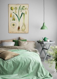 Comfy Minimalist Apartment Interior Design Ideas - Page 8 of 74 Pastel Bedroom, Bedroom Green, Bedroom Decor, Bedroom Ideas, Bedroom Lighting, Interior Desing, Apartment Interior Design, Scandinavian Interior Bedroom, Scandinavian Style