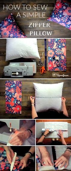 How to make the simplest pillows ever! Love this no-sew pillow tutorial with glow .How to make the simplest pillows ever! Love this no-sew pillow tutorial with glue.How to sew a pillow with a zipper Easy Sewing Projects, Sewing Projects For Beginners, Sewing Hacks, Sewing Tutorials, Sewing Crafts, Sewing Tips, Dress Tutorials, Sewing Ideas, Sewing Patterns Free
