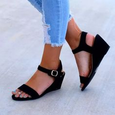 US$ 35.99 - Plus Size Wedge Sandals Open Toe Ankle Buckle Belt Sandals - www.joymanmall.com Wedge Sandals Outfit, Black Sandals, Women's Shoes Sandals, Cheap Sandals, Low Heels, Wedge Heels, Peep Toe, Casual Date, Kinds Of Shoes