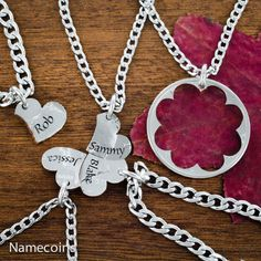 Name Heart Necklaces 5 Piece Custom engraved names by NameCoins