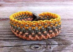 Multicolored Macrame Hemp Bracelet  Peach Olive Green by hempkitty, $10.00