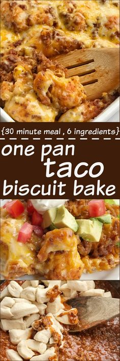 Taco biscuit bake is an easy & simple one pot meal. Puffed up refrigerated biscuits smothered in a beefy taco mixture and topped with melted cheese. Customize with your favorite taco toppings and you have a delicious dinner that the entire family will love! Easy Recipes With Hamburger, Ground Beef Recipes Simple, Casseroles With Ground Beef, Ground Beef Meals, Ground Beef Recipes Mexican, Mexican Recipes, Indian Recipes, Dinner Ideas With Hamburger, Mexican Fiesta
