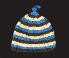 Organic Cotton Knit Blue, Brown and Tan Striped Baby Hat